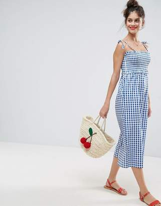 ASOS Jumpsuit with Shirred Bodice in Gingham Print $40 thestylecure.com