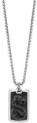 """John Hardy Sterling Silver Legends Naga Large Dog Tag Necklace with Black Onyx, 26"""""""
