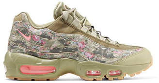Nike - Air Max 95 Printed Leather And Mesh Sneakers - Army green