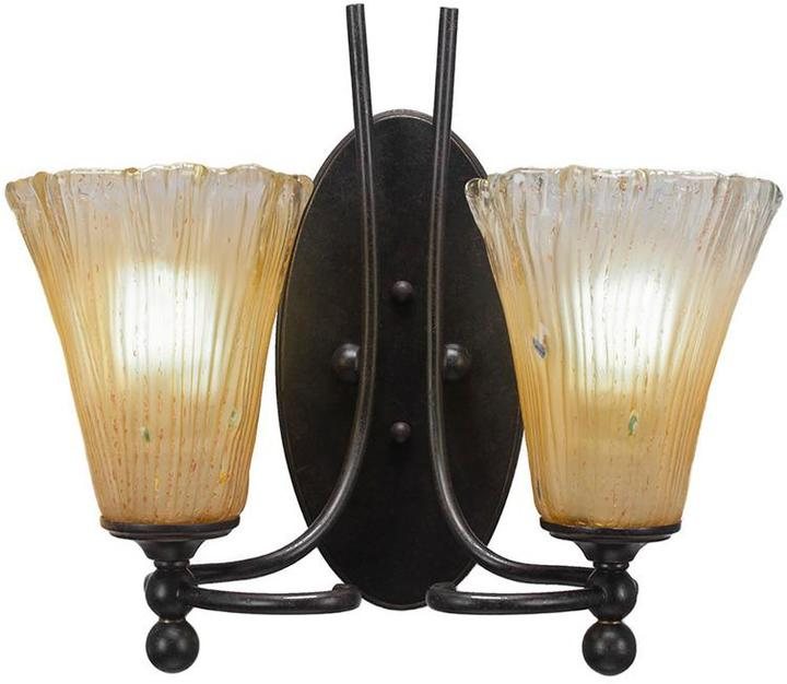 Cambridge SilversmithsCambridge 2-Light Dark Granite Sconce with Fluted Amber Ribbed Glass