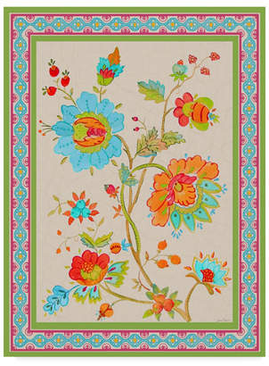 """Jean Plout 'Fiesta Floral Tapestry 1' Canvas Art - 14"""" x 19"""""""