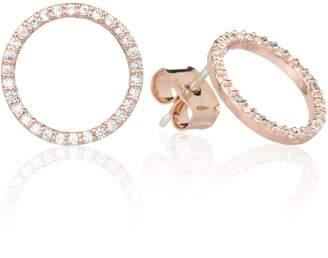 Astrid & Miyu - Tuxedo Circle Stud Earrings in Rose Gold