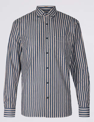 Blue HarbourMarks and Spencer Pure Cotton Slim Fit Striped Shirt