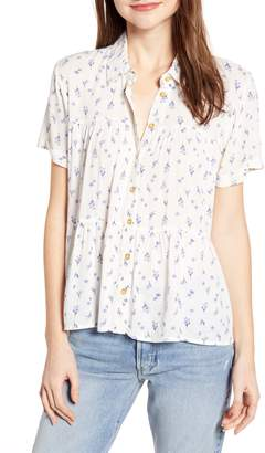 One Clothing Ruffle Hem Floral Print Top