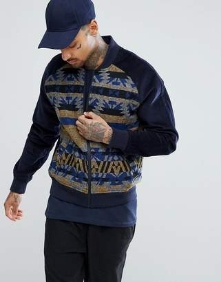 Asos Design DESIGN bomber jacket in aztec print with cord sleeves