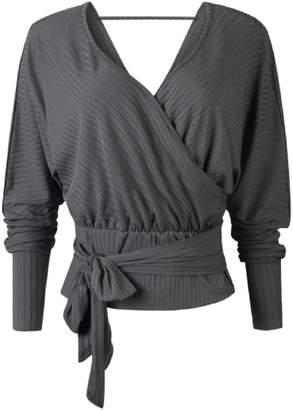 Goodnight Macaroon 'Janlis' Ribbed Knit Wrap Top (3 Colors)