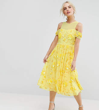 Asos Bright Embellished Cut Out Midi Dress