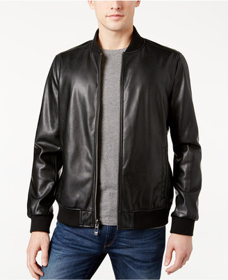 Calvin Klein Men's Reversible Faux Leather and Camo Jacket $225 thestylecure.com