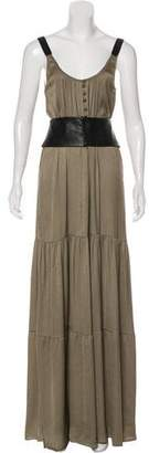 A.L.C. Leather Belted Maxi Dress