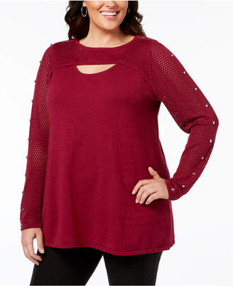 Belldini Black Label Plus Size Embellished Mesh Top