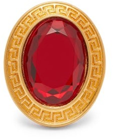 Versace Crystal Embellished Ring - Womens - Burgundy