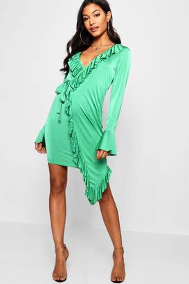 boohoo Asymmetric Ruffle Detail Wrap Dress