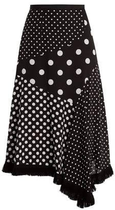 Andrew Gn Polka Dot Print Asymmetric Silk Skirt - Womens - Black White