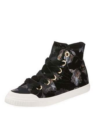 Tretorn Marley Lace-Up Velvet Rubber High-Top Sneakers