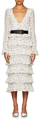 KALMANOVICH Women's Star-Print Silk Crepe Maxi Dress - White