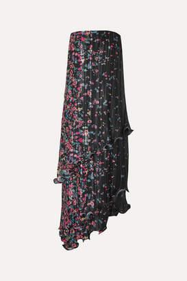 Givenchy Strapless Asymmetric Ruffled Floral-print Plissé-satin Dress - Black