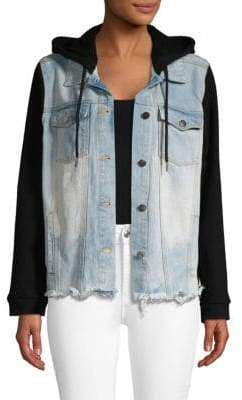 Frayed-Hem Denim Hooded Jacket