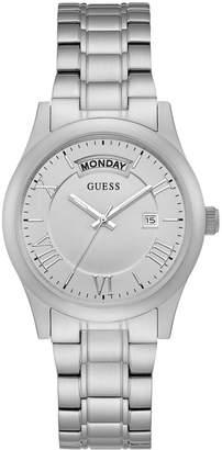 GUESS Women's Brushed Silver-Tone Classic Watch