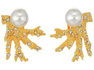 Kenneth Jay Lane Satin Gold Branch w/ Crystal Dots and White Pearl Top Clip Earrings