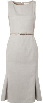 Max Mara Belted Wool-blend Dress - Gray