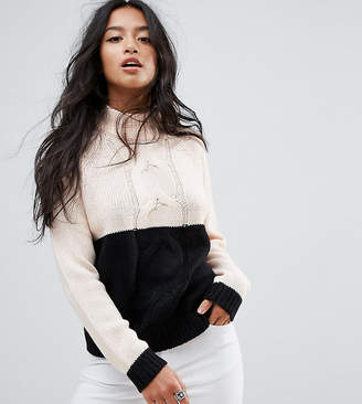 Noisy May Petite Contrast Cable Knit Sweater