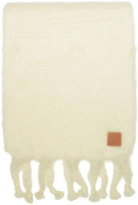 Loewe White Mohair Fringe Scarf