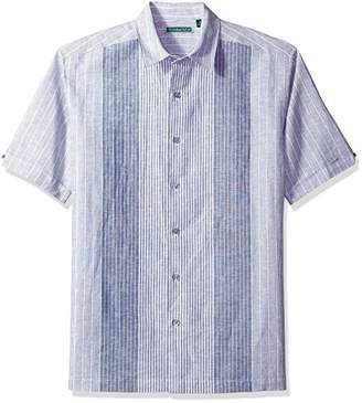 Cubavera Men's Short Sleeve Linen-Blend No-Pocket Button-Down Shirt with Panels