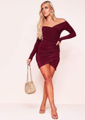 a3ef0f449f Missy Empire Missyempire Kiara Wine Ruched Bardot Mini Dress