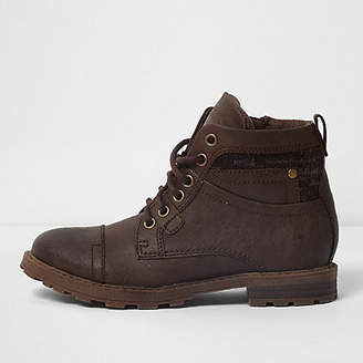 River Island Boys dark brown mixed fabric work boots
