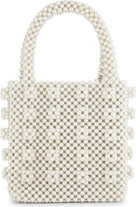 Shrimps Cream Antonia Faux Pearl Beaded Tote Bag