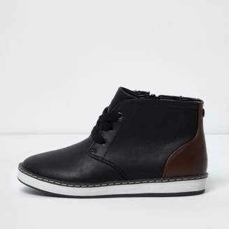 River Island Boys black block lace-up ankle boots