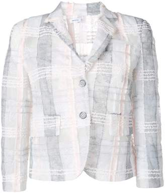 Thom Browne Classic Single Breasted Sport Coat In Tulle With Overdyed Lace And Yarn Overlay Madras