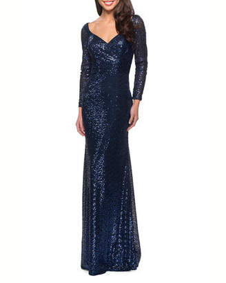 La Femme Long-Sleeve V-Neck Sequin Dress