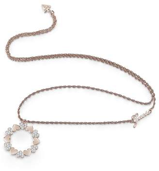 GUESS Rose Gold Plated 'Heart Bouquet' Swarovski Heart Circle Long Necklace