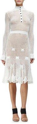 Derek Lam Long-Sleeve Button-Front Crochet Dress, White $2,495 thestylecure.com