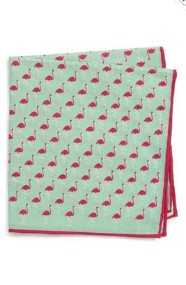 Southern Tide Fenwick Flamingo Cotton & Silk Pocket Square