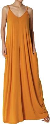 TheMogan Women's Casual V-Neck Short Sleeve Pocket Long Maxi Dress Dark Purple 2XL