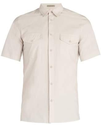 Bottega Veneta Patch Pocket Cotton Shirt - Mens - Light Grey