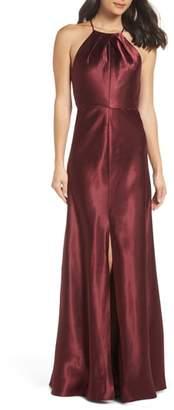 Jenny Yoo Cameron Halter Neck Satin Back Gown