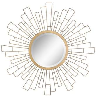 "STONEBRIAR COLLECTION Stonebriar Round Decorative Antique Gold 23"" Geometric Metal Sunburst Hanging Mirror for Wall with Attached Mounting Brackets"