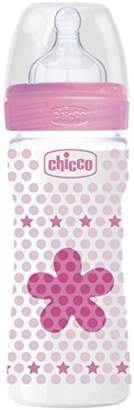 Chicco Wellbeing Plastic Baby Bottle, Medium Flow Silicone 250 ml azure