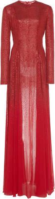 Oscar de la Renta Round Neck Full Sleeve Beaded Dress With Train