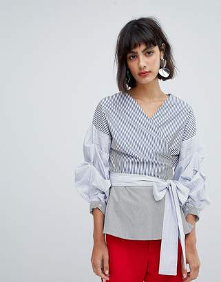 InWear Sami Contrast Stripe Blouse With Ruched Sleeve