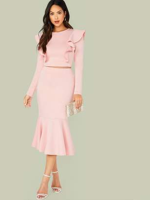 Shein Ruffle Trim Fitted Top & Fishtail Hem Skirt Set