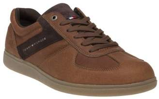 Tommy Hilfiger New Mens Tan Danny Leather Trainers Retro Lace Up