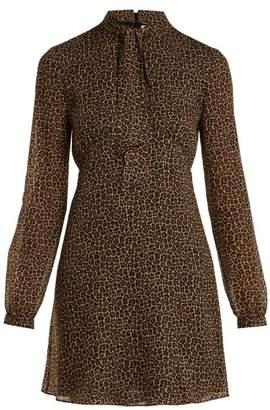 Saint Laurent Leopard Print Tie Neck Wool Dress - Womens - Leopard