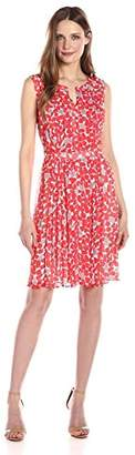 Nine West Women's Pleated Dress with Topstitching