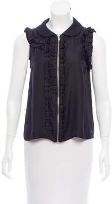 Marc by Marc Jacobs Ruffle-Trimmed Silk Top