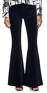 L'Agence Women's Solana Velvet Flared Pants - Navy