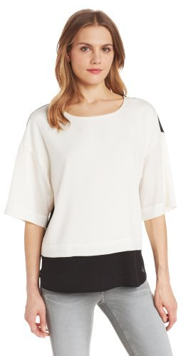 Calvin Klein Women's 3/4 Sleeve Color Block Top